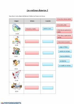 Interactive worksheet La rutina diaria 2