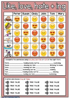 Interactive worksheet Like, love or hate + ing