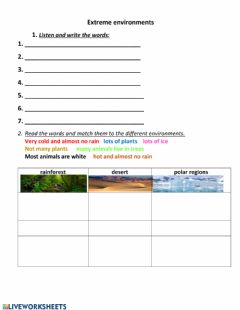 Interactive worksheet Extreme environments