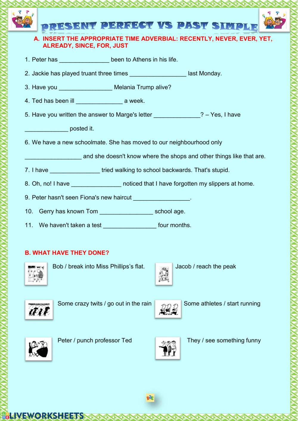 Past Simple vs Present Perfect Simple - Interactive worksheet
