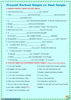 Past Simple vs Present Perfect Simple worksheet preview