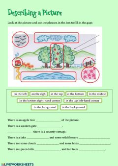 Interactive worksheet Describing a Picture