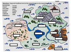 Interactive worksheet Landform Map Drop