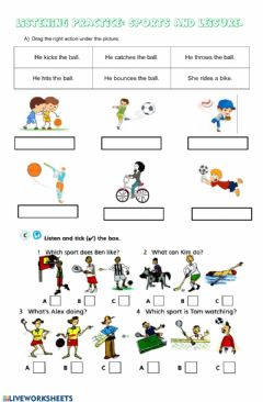 Interactive worksheet Leisure and sports listening
