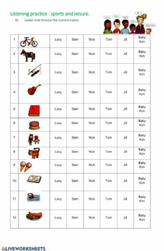 Listening comprehension Interactive worksheets