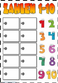 Interactive worksheet Zahlen 1-10