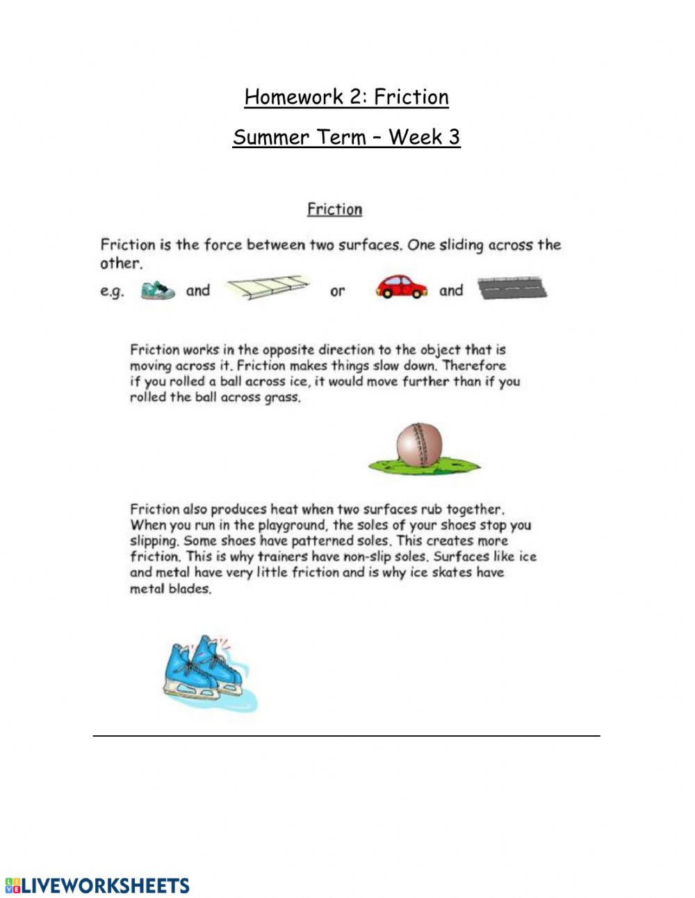 Friction Interactive Worksheet