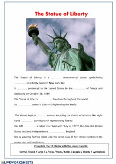 Interactive worksheet The Statue for Liberty