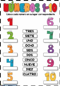 Interactive worksheet Números 1-10 (Arrastrar y soltar)