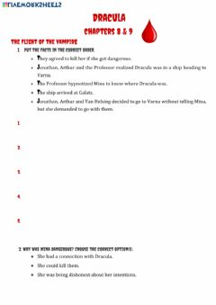 Interactive worksheet Dracula chapters 8 and 9