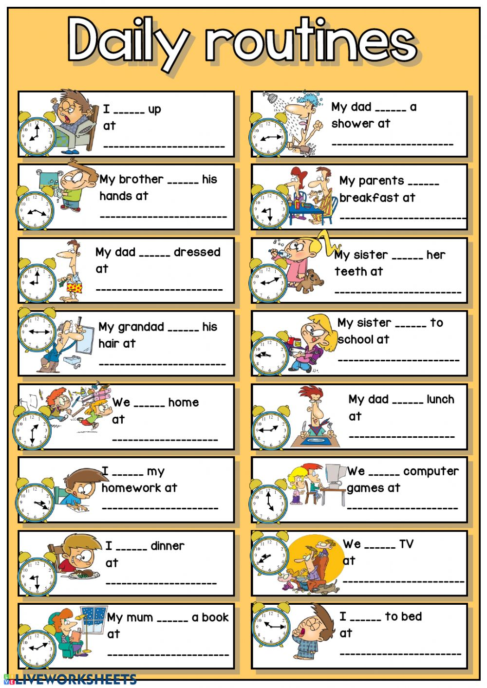 Daily routines + telling the time - Interactive worksheet