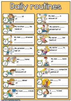 Interactive worksheet Daily routines + telling the time