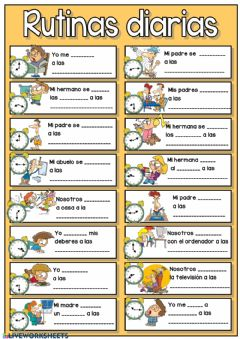 Interactive worksheet Rutinas diarias + las horas