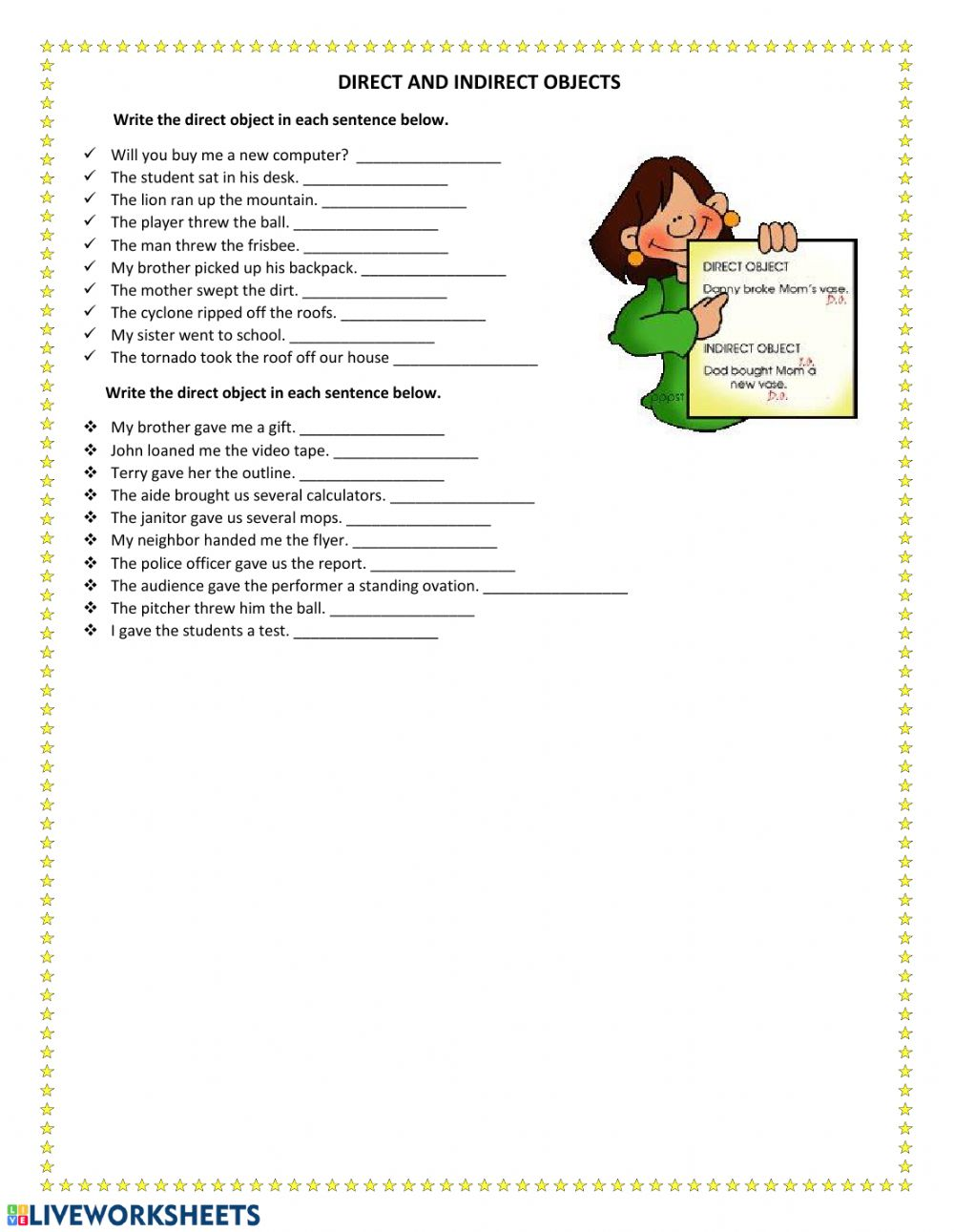 Direct And Indirect Objects Interactive Worksheet