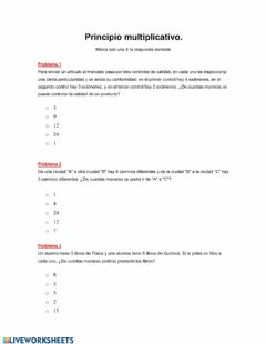 Interactive worksheet Principio Multiplicativo