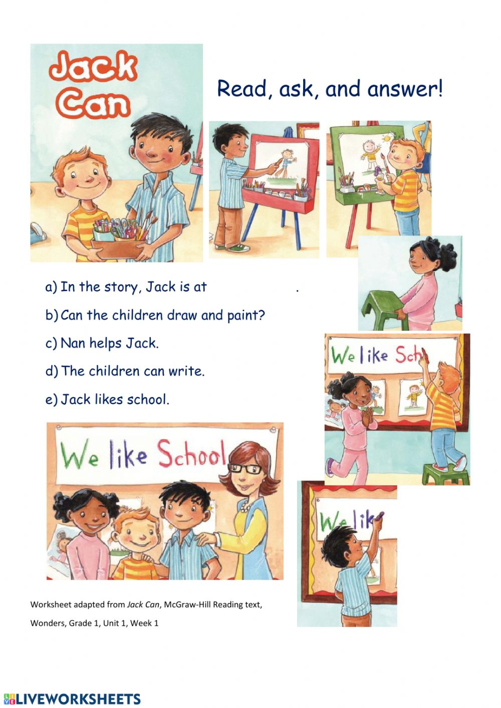 - Jack Can Comprehension Questions - Interactive Worksheet