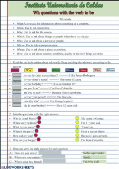 Interactive worksheet Wh questions with the verb to be