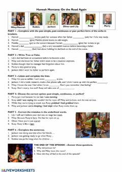 Interactive worksheet Hannah Montana - On the Road
