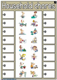 Interactive worksheet Household chores - listen and drag