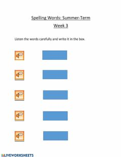 Ficha interactiva Spelling Words Week 3
