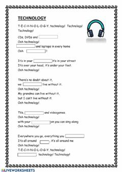 Interactive worksheet Technology Lyrics