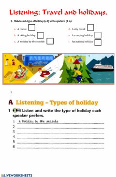 Interactive worksheet Holidays listening