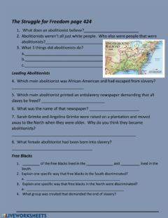 Interactive worksheet The Underground Railroad