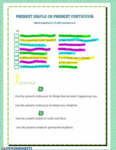 Present Simple or Present Continuous worksheet preview