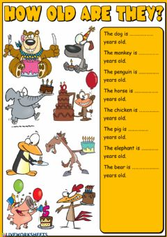 Interactive worksheet How old are they? - writing