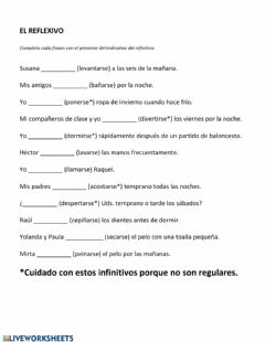 Interactive worksheet El Reflexivo