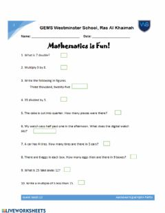 Interactive worksheet Maths Assessment Practice