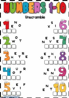 Interactive worksheet Numbers 1-10 (Unscramble)