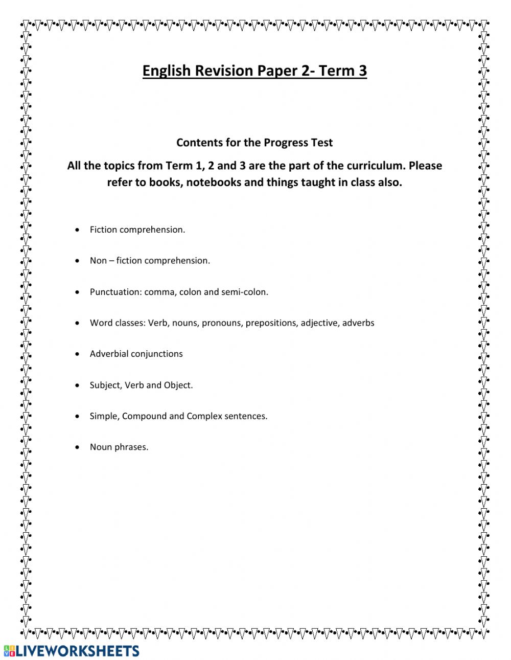 - Progress Test English Revision - Interactive Worksheet