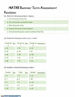Interactive worksheet Maths Revision Part 1