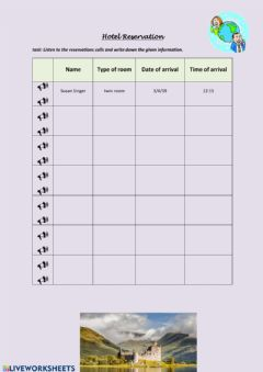 Interactive worksheet Hotel reservation