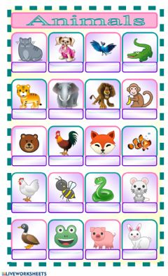 Ficha interactiva Animals
