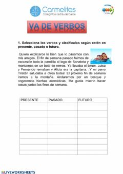 Interactive worksheet Introducción a los verbos