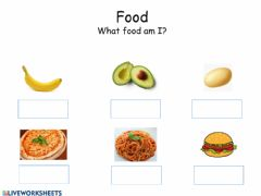 Interactive worksheet Food multiple choice