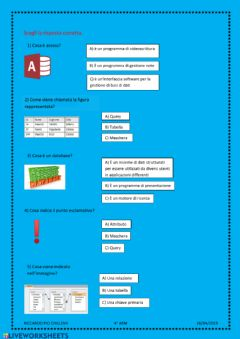 Interactive worksheet Scelta multipla
