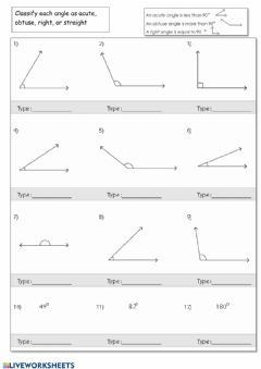 Interactive worksheet Classify Angles