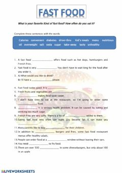 Interactive worksheet Fast food