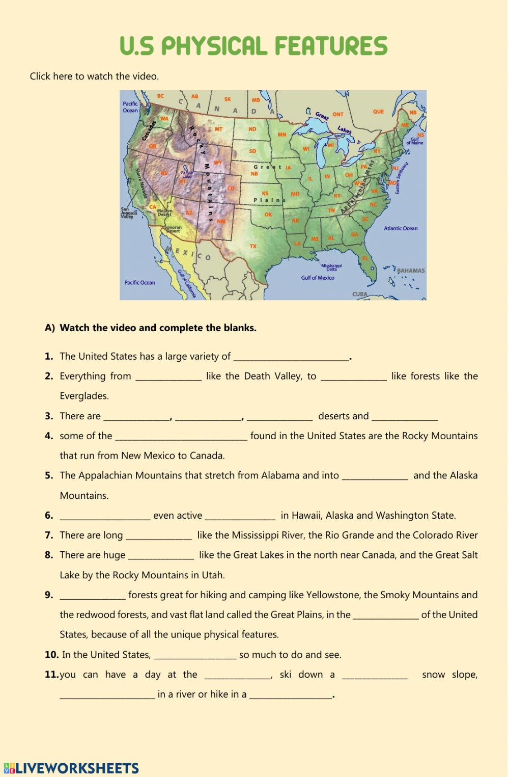 Picture of: Ejercicio De Usa Physical Features Geographical Features