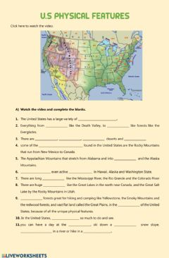 Interactive worksheet USA physical features - geographical features