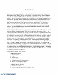 Interactive worksheet Parts of a Story in -Three Little Pigs-