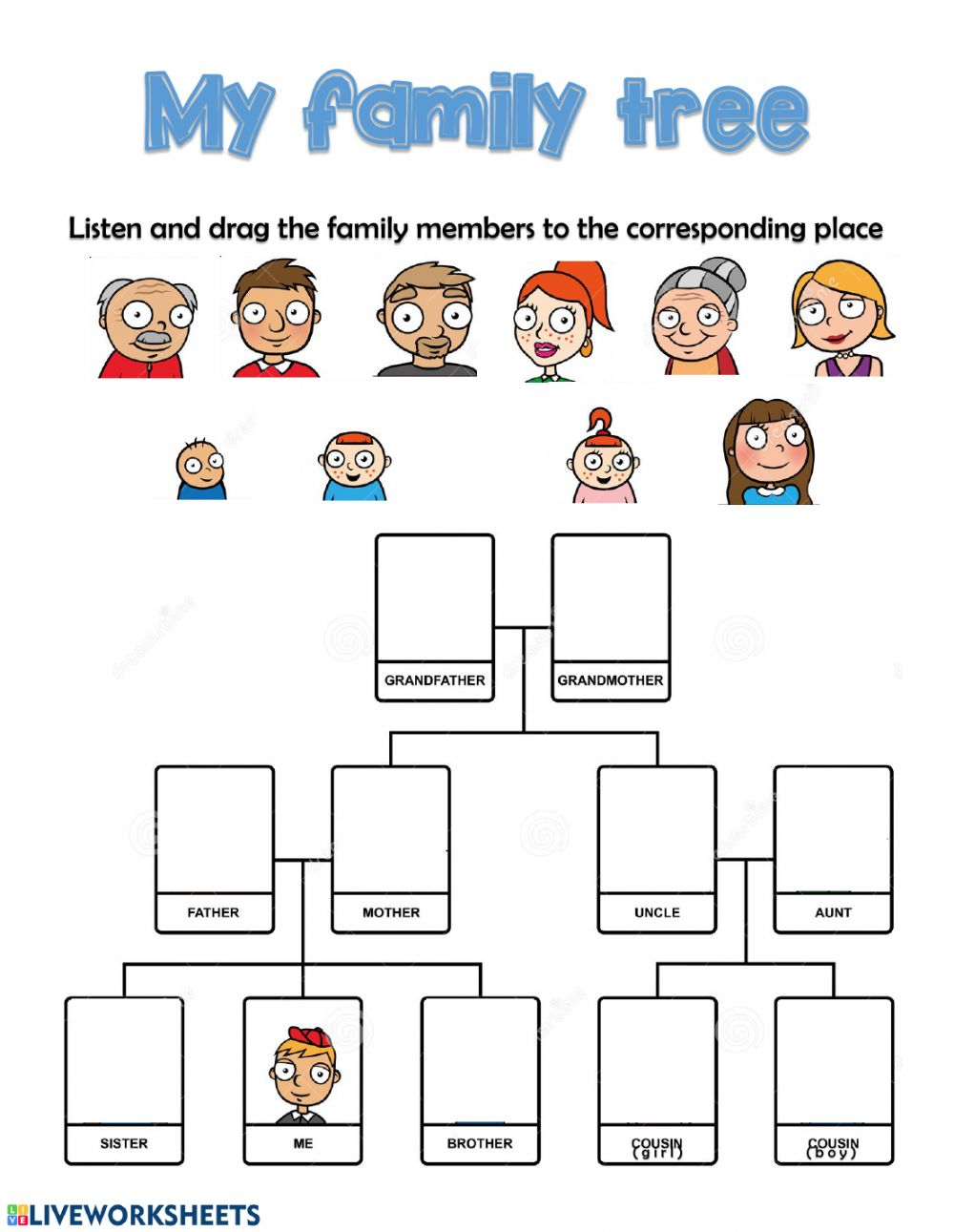 Listening family - Interactive worksheet
