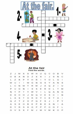 Interactive worksheet At the fair. Crossword and wordsearch.