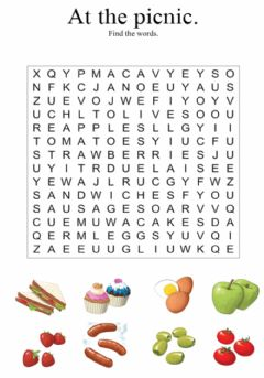 Interactive worksheet At the picnic. Wordsearch