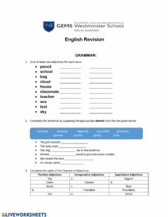 Interactive worksheet English Revision