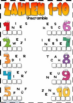 Interactive worksheet Zahlen 1-10 (Unscramble)