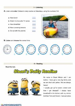 Interactive worksheet Daily Routine-Test